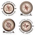 Vintage Colored Nautical Round Emblems Set