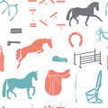 Vintage colored pattern with horses beautiful seamless horse equipment including boots helmet saddle and other equine stuff Stock Photos
