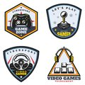 Vintage Colored Video Game Emblems Set Royalty Free Stock Photo