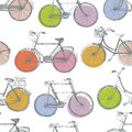 Vintage colorful bicycle background hand drawing sketch Royalty Free Stock Photography
