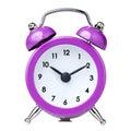 Vintage colorful magenta clock alarm isolated white Royalty Free Stock Image