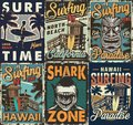 Vintage colorful surfing posters set Royalty Free Stock Photo