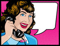 Vintage comic style woman on the phone illustration of pop art book gossiping away telephone Stock Photo