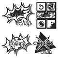Vintage comics shop emblems