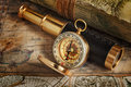Vintage compass, telescope and map Royalty Free Stock Photo