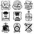Vintage cooking in kitchen classes vector silhouette labels. Cook workshop emblems. Gourmet logos