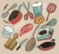 Vintage cooking set flat vector Stock Image