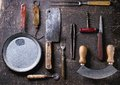 Vintage cookware set of over dark background top view Royalty Free Stock Image