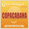 Vintage copacabana rio de janeiro poster touristic greeting card vector illustration Stock Photos