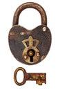 Vintage corroded padlock with key isolated on white Royalty Free Stock Photo