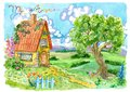 Cottage House With Fence, Tree...