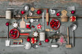 Vintage country stlye decoration for christmas with wood and kit Royalty Free Stock Photo