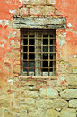 Vintage country window old wooden with metal grid Stock Photos