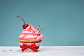 Vintage Cupcake with Cherry on Top Royalty Free Stock Photo