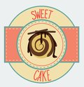Vintage cupcake poster design vecyor illustration sweet Royalty Free Stock Images