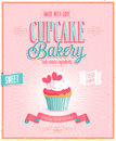 Vintage cupcake poster vector illustration Royalty Free Stock Photography