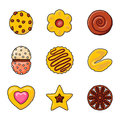 Vintage cupcakes icons coffee vector icon set cookie illustration collection Stock Photo
