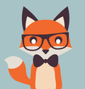 Vintage Cute Fox Illustration Flat Vector Stock Royalty Free Stock Photo