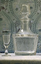 Vintage decanter and vodka glass Royalty Free Stock Photography