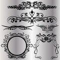 Vintage Decorations Elements Flourishes Calligraphic Ornaments and Frames Black background
