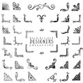 Vintage decorative corners collection. Hand drawn vector design Royalty Free Stock Photo