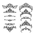 Vintage decorative diadems and vignettes on white