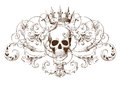 Vintage decorative element engraving with Baroque ornament pattern and skull