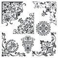 Vintage decorative floral corner design elements