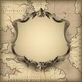 Vintage decorative frame against old geographic map background