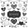 Vintage decorative hearts collection. Hand drawn vector design Royalty Free Stock Photo