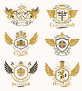 Vintage decorative heraldic vector emblems composed with element