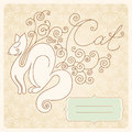 Vintage decorative vector cat birthday card Royalty Free Stock Images