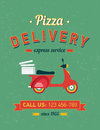 Vintage delivery poster with old typography and red moto bike Royalty Free Stock Photo