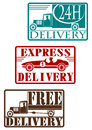 Vintage delivery stamp set stamps on a white background one color Stock Images