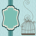Vintage design with birdcages beautiful background frame and birdcage vector illustration Stock Photography