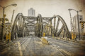 Vintage design chicago old bridge in Royalty Free Stock Photos