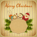 Vintage design of christmas and new years postcard santa claus snowman hare on a background illustration Stock Photo