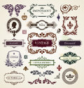 Vintage design elements calligraphic frames floral patterns and banners vector illustration Royalty Free Stock Photo