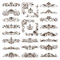 Vintage design elements ornaments frame corners curbs retro stickers and damask vector set illustration