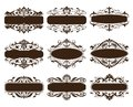 Vintage design elements ornaments frame corners curbs retro stickers and damask vector set illustration Royalty Free Stock Photo