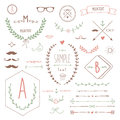 Vintage design set of elements hand drawn illustration Stock Image