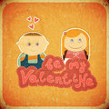 Vintage Design Valentines Day Card Royalty Free Stock Images