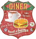 Vintage diner sign road vector Stock Photos