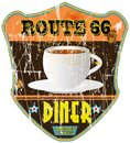 Vintage diner sign route retro grungy style vector eps Royalty Free Stock Images