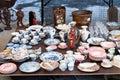 Flea market dishes Royalty Free Stock Photo