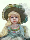 Vintage doll hand painted has a beautiful dress and a hat Stock Photography