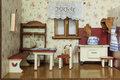 Vintage doll house detail of retro living room in Royalty Free Stock Photo