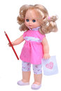 Vintage doll in pink dress with pencil Royalty Free Stock Photo