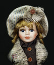 Vintage doll toys portrait of antique porcelain face with little hut Royalty Free Stock Photography
