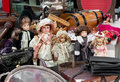 Vintage dolls and other stuff for sale in a flea market Stock Images
